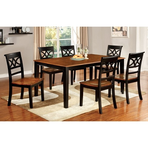 Iohomes 7pc Country Style Dining Table Set Woodblack And Oak Target