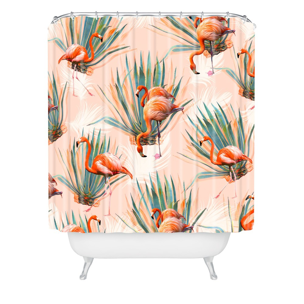 Marta Barragan Camarasa Flamingos With Cactus Shower Curtain Pink Deny Designs