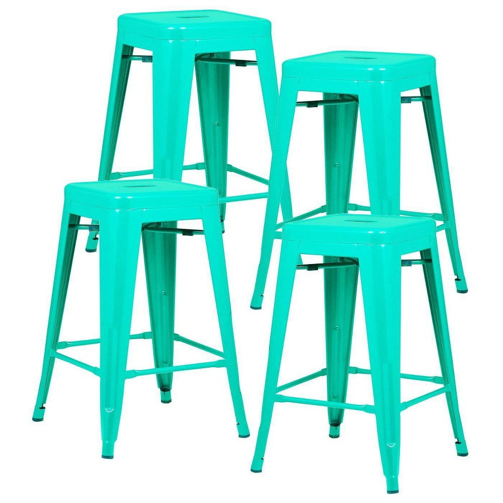"""Image of """"Set of 4 24"""""""" Franco Industrial Counter Height Stool Aqua - Poly & Bark"""""""