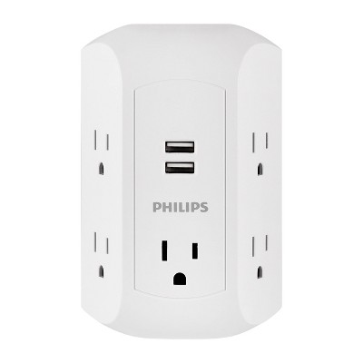 Philips 5-Outlet Grounded Tap 2 USB Ports 2.4A Adapter Spaced Outlets 560J - White Turtle