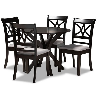 5pc Julia Upholstered Wood Dining Set Gray/Dark Brown - Baxton Studio