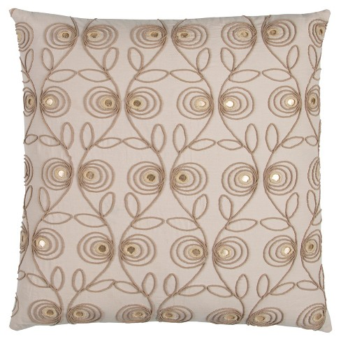 "Beige Floral Cotton Throw Pillow (20""x20"") - Rizzy Home - image 1 of 2"