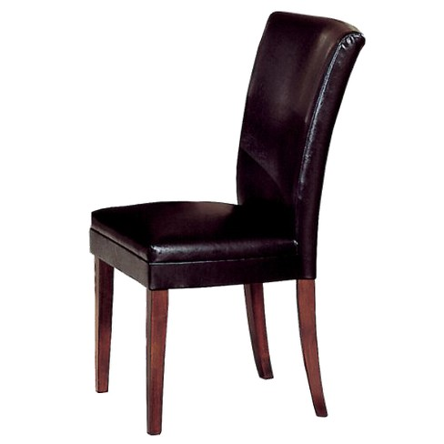 Set Of 2 Vinyl Dining Chairs Wood Brown Inspire Q