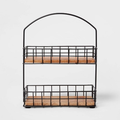 Iron and Mangowood 2-Tier Wire Spice Rack Black - Threshold™