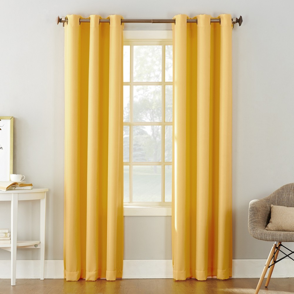 Montego Casual Textured Grommet Curtain Panel Yellow 48