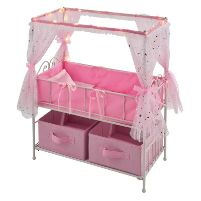 Badger Basket Starlights Metal Doll Crib with Canopy Bedding Storage and LED Lights - Pink/White/Stars
