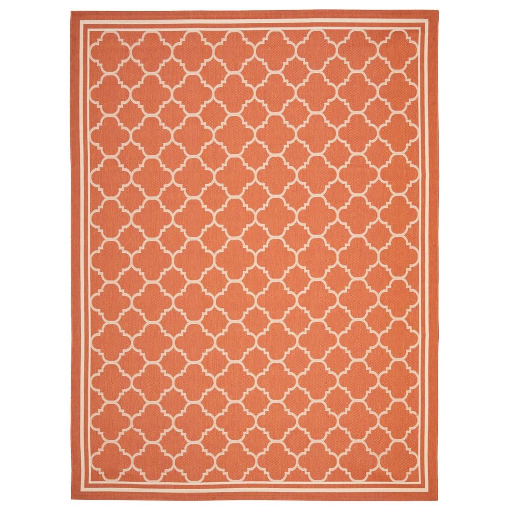 Renee Rectangle 9'X12' Outdoor Patio Rug - Terracotta / Bone - Safavieh, Orange