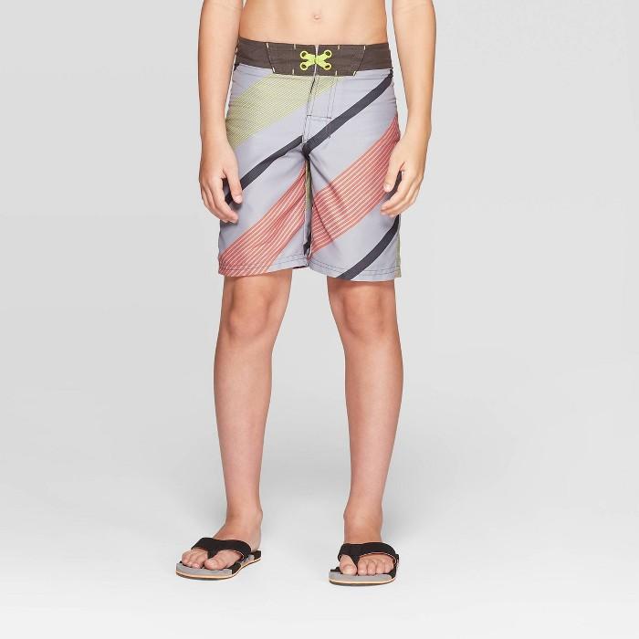 Boys' Diagonal Stripe Swim Trunks - art class™ Gray - image 1 of 3