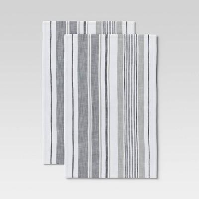 2pk Cotton Plain Woven Kitchen Towels Gray - Threshold™