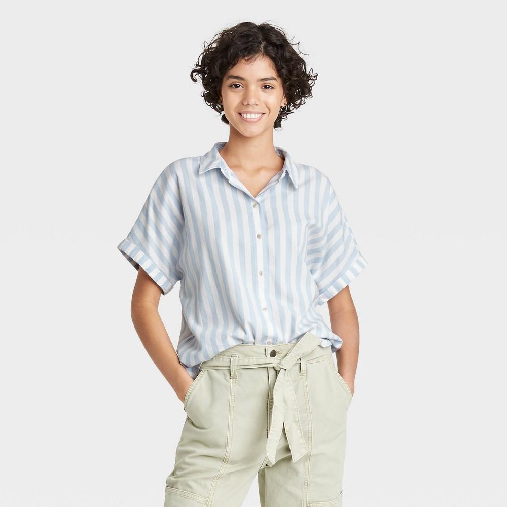 Women 39 S Striped Dolman Short Sleeve Button Down Shirt Universal Thread 8482 Blue Xl