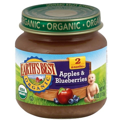 Earth's Best Organic Apples & Blueberries Baby Food, 4oz (12ct) - image 1 of 2