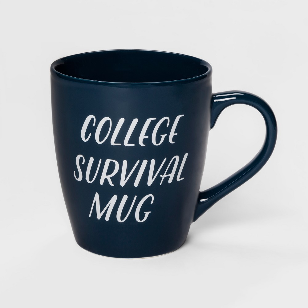 48oz Stoneware College Survival Giant Mug Navy (Blue) - Clay Art