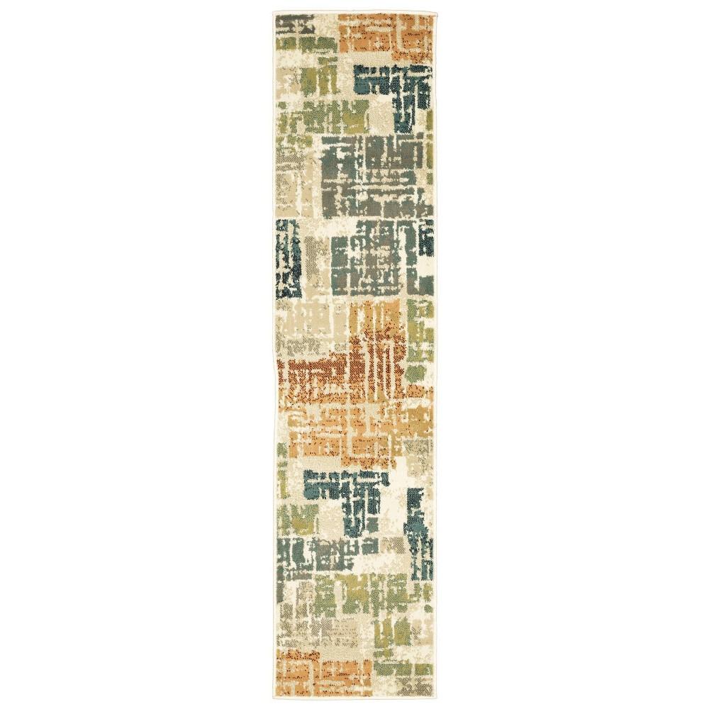 1 39 10 34 X7 39 6 34 Runner Estrella Distressed Patchwork Rug Orange Gray Captiv8e Designs