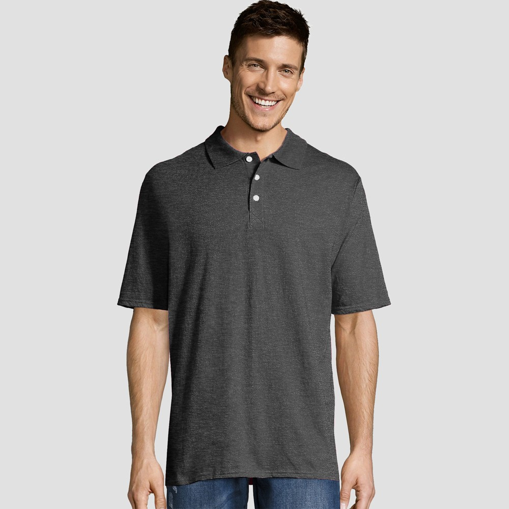 Hanes Men's Short Sleeve X-Temp Jersey Polo Shirt - Charcoal Heather L