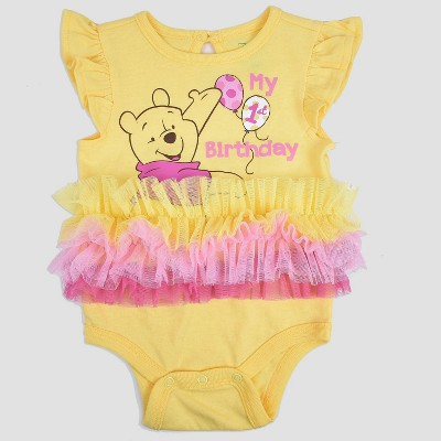Baby Girls' Winnie the Pooh Birthday Bodysuit - Yellow 0-3M