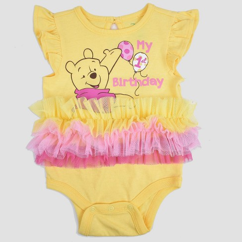 865dcbe1a779 Baby Girls  Winnie The Pooh Birthday Bodysuit - Yellow   Target
