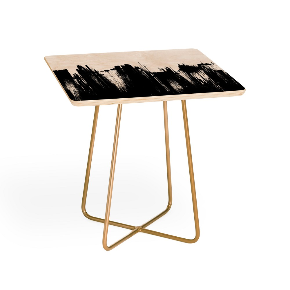 Kelly Haines Monochrome Brushstrokes Side Table Black and Gold - Deny Designs