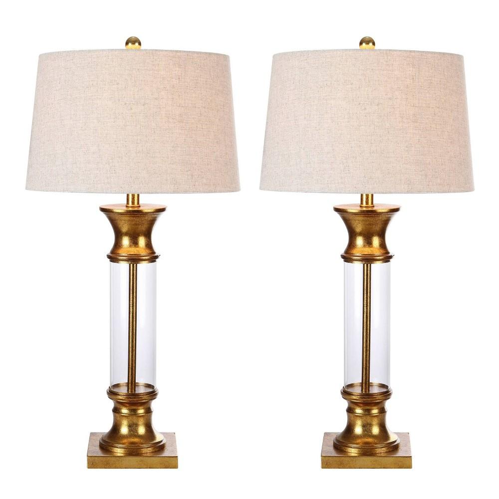 32 34 Set Of 2 Hunter Metal Glass Table Lamp Includes Led Light Bulb Gold Jonathan Y