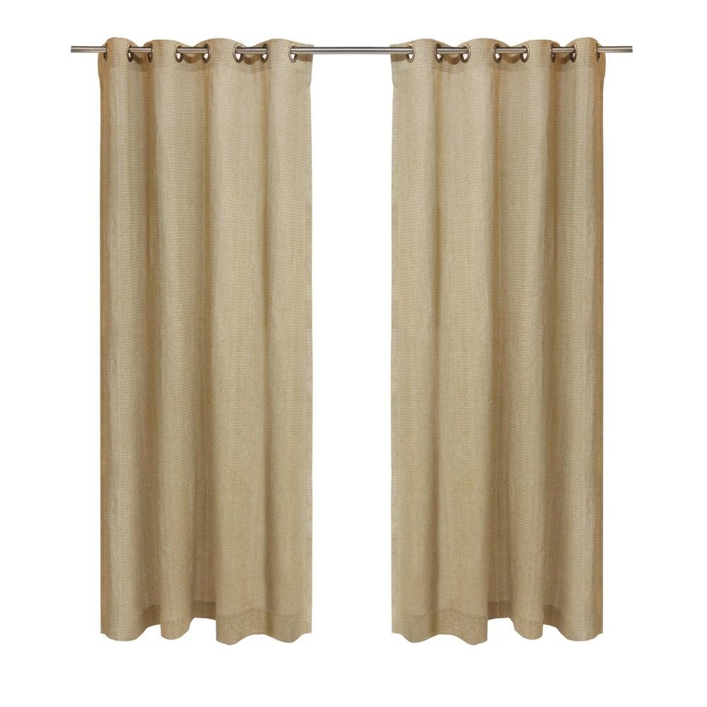 "Image of ""50""""x84"""" Raffia Grommet Top Solid Indoor/Outdoor Blackout Curtain Panel Natural - Outdoor Décor"""