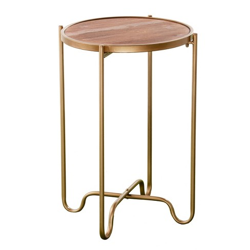 Arnor Contemporary Accent Table Gold/Natural - Aiden Lane - image 1 of 4