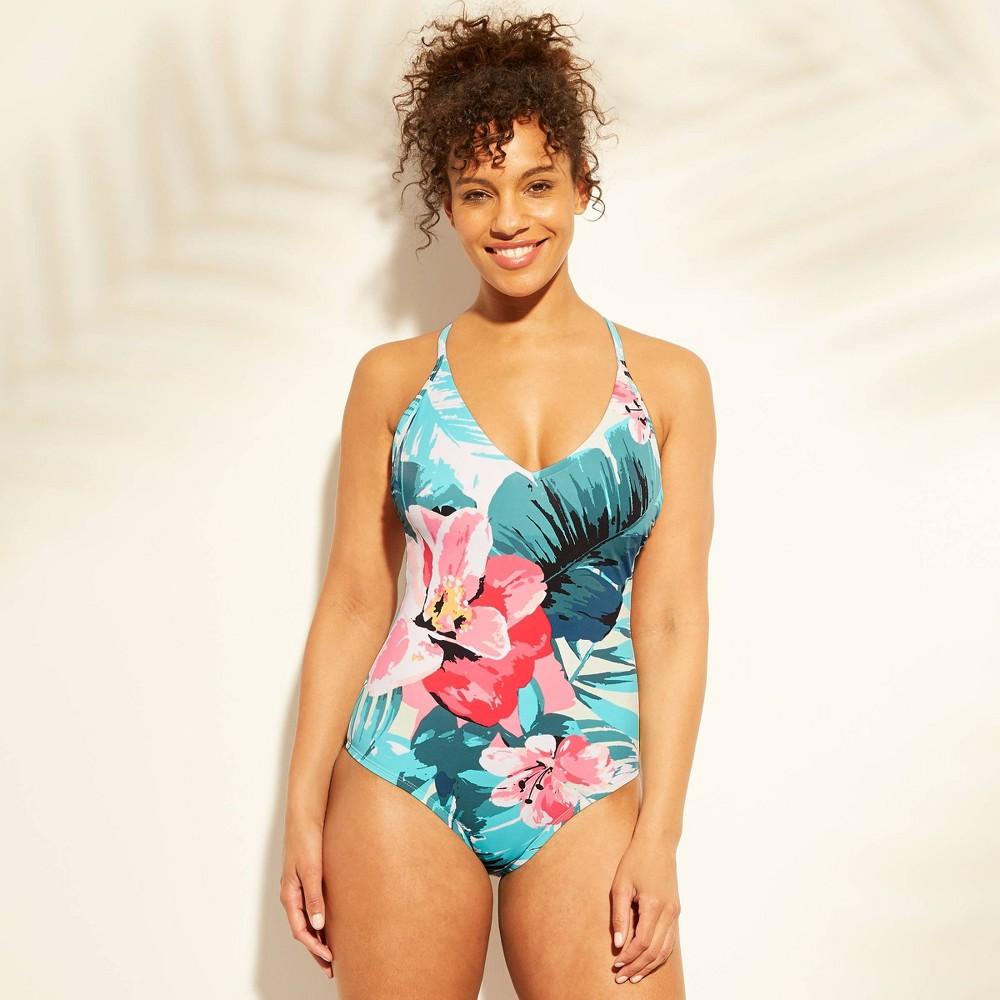 346b92f157b Womens Scoop Back One Piece Swimsuit Kona Sol Tropical Print XL Multicolored