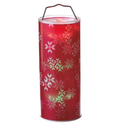 """Ganz 12"""" Battery Operated Transparent Red Snowflake LED Color Changing Lighted Hanging Christmas Lantern"""