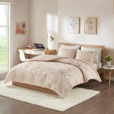 Addie Metallic Print Reversible Comforter Set