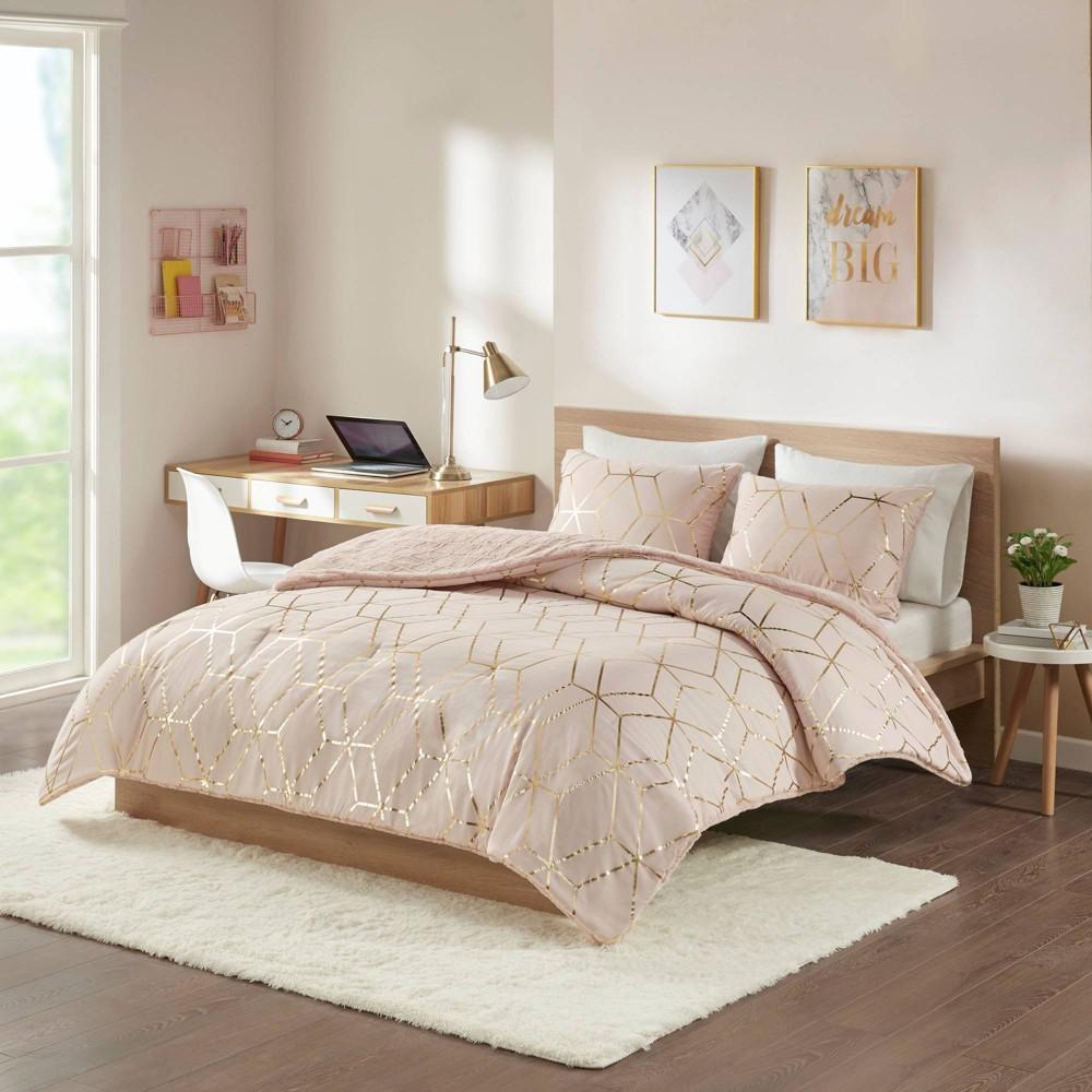 Image of Addie Twin/Twin Extra Long 2pc Metallic Print Reversible Comforter Set Blush