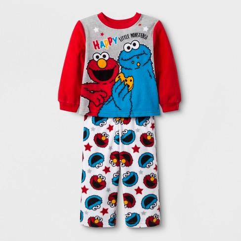 1a70047cf Toddler Boys  Sesame Street 2pc Fleece Pajama Set - Red 2T   Target
