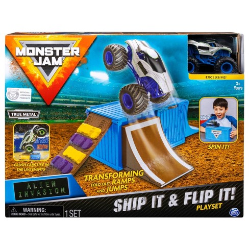 Monster Jam Ship It Flip It Transforming Playset With Exclusive 1 64 Scale Die Cast Monster Jam Truck Target
