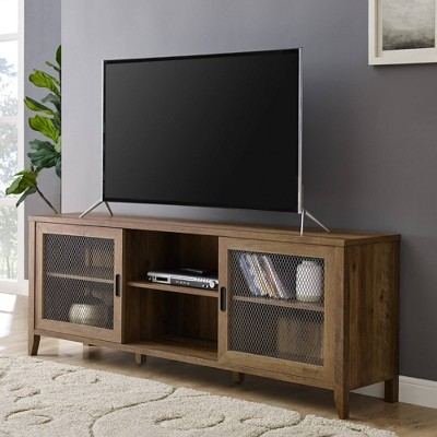 """Industrial Sliding Mesh Door Console TV Stand For TVs Up To 80"""" - Saracina Home : Target"""