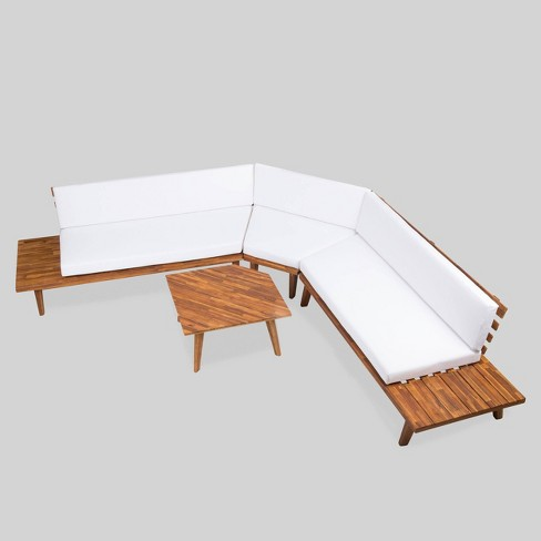 Hillcrest 4pc Acacia V Shaped Outdoor Patio Sectional Sofa Set Natural White Christopher Knight Home Target