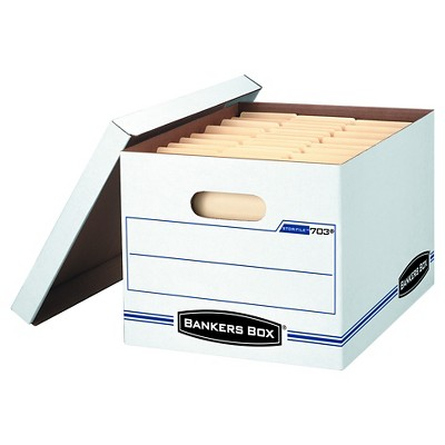 "Banker Box Stor/File Letter-Legal Storage Boxes with Lift-Off Lid, 12"" x 10"" x 15"", 8 pack - White"
