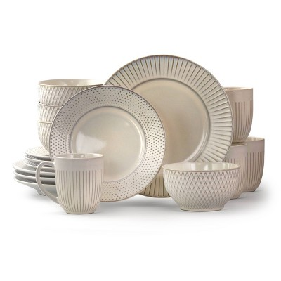 16pc Stoneware Minimalist Dinnerware Set White - Elama