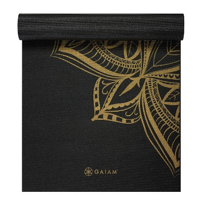 Gaiam Metallic Bronze Printed Yoga Mat - Black (6mm)