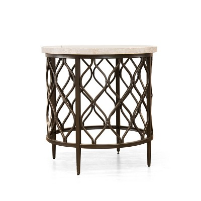 Roland End Table Faux Marble And Metal   Steve Silver