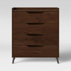 4 Drawer Modern Gallery Dresser Walnut Brown - Room Essentials™