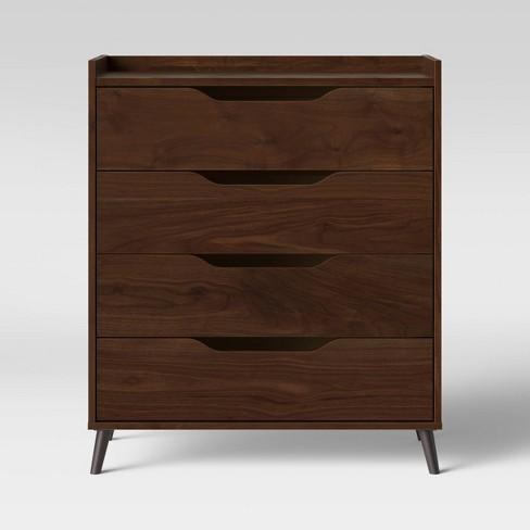 4 Drawer Modern Gallery Dresser Walnut Brown - Room Essentials™ - image 1 of 4