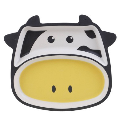 """9.6"""" Bamboo Cow Kids Divided Plate - Certified International"""
