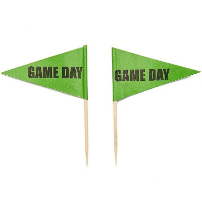 Juvale 200-Pack Green Game Day Flag Toothpicks Toppers Food Picks Party Decorations Supplies