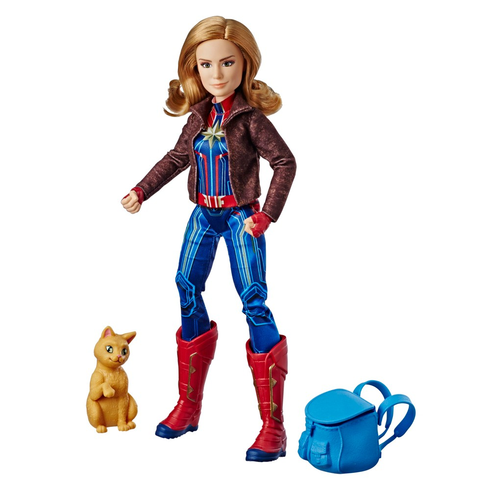 Marvel Captain Super Hero Doll & Goose the Cat