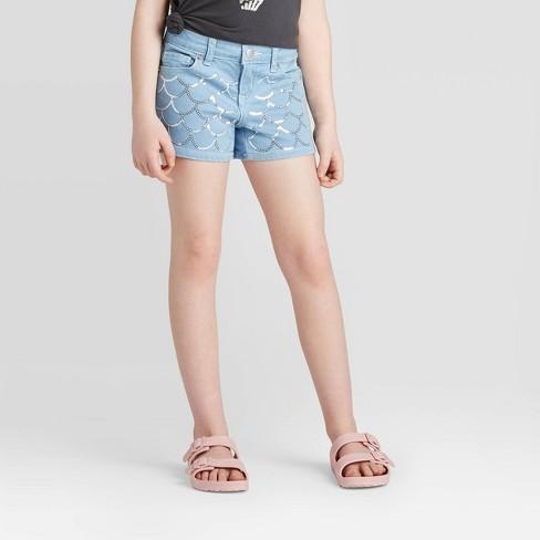 Girls' Sequin Mermaid Jean Shorts - Cat & Jack™ Light Wash L Plus : Target
