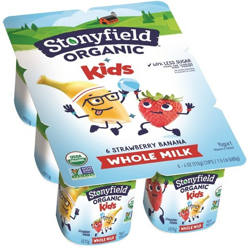 Stonyfield Organic Whole Milk Strawberry Banana Yogurt - 4oz/6ct - image 1 of 1
