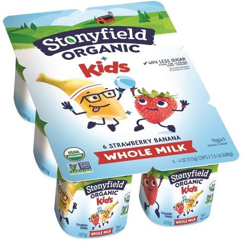 Stonyfield Organic Kids Whole Milk Strawberry Banana Yogurt - 6ct/4oz Cups - image 1 of 1