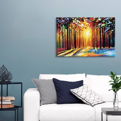 Sun of January by Leonid Afremov Unframed Wall Canvas Print Yellow - iCanvas