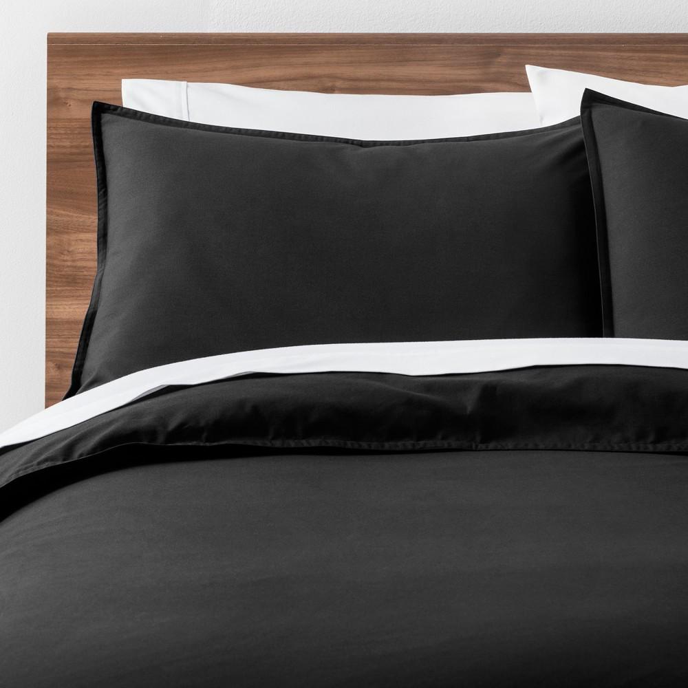 Image of Black Easy Care Solid Duvet Cover Set (King) - Made By Design