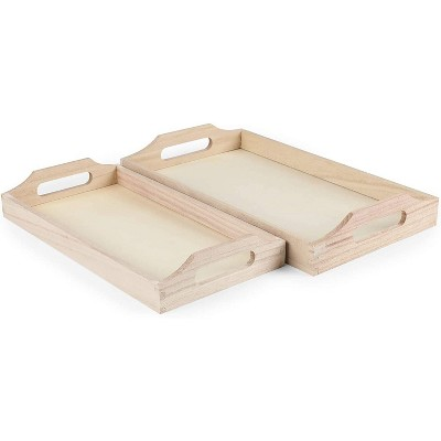 Wooden Serving Tray with Handle, 2 Pieces Set of Rectangular Shape Wood Trays for Food and Drink