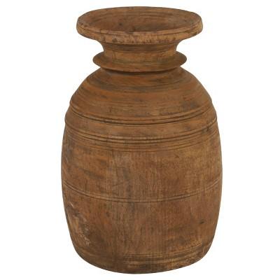 "18"" Round Antique Style Wooden Storage Jar Brown - Olivia & May"