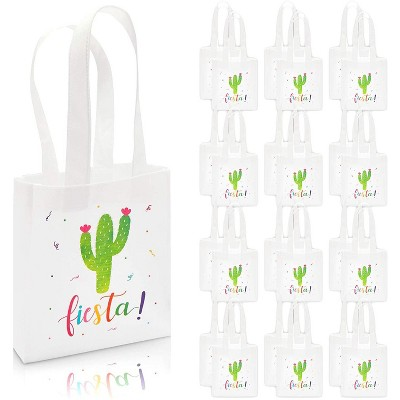 """Blue Panda 24-Pack Small """"Fiesta"""" with Cactus Party Favor Tote Bags Gift Bags (8.5 x 6.8 x 2 In)"""