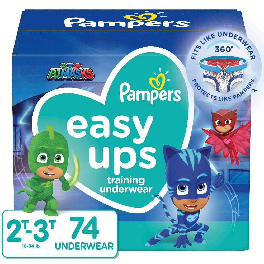 Pampers Easy Ups Boys 39 Pj Masks Training Underwear Super Pack Size 2t 3t 74ct